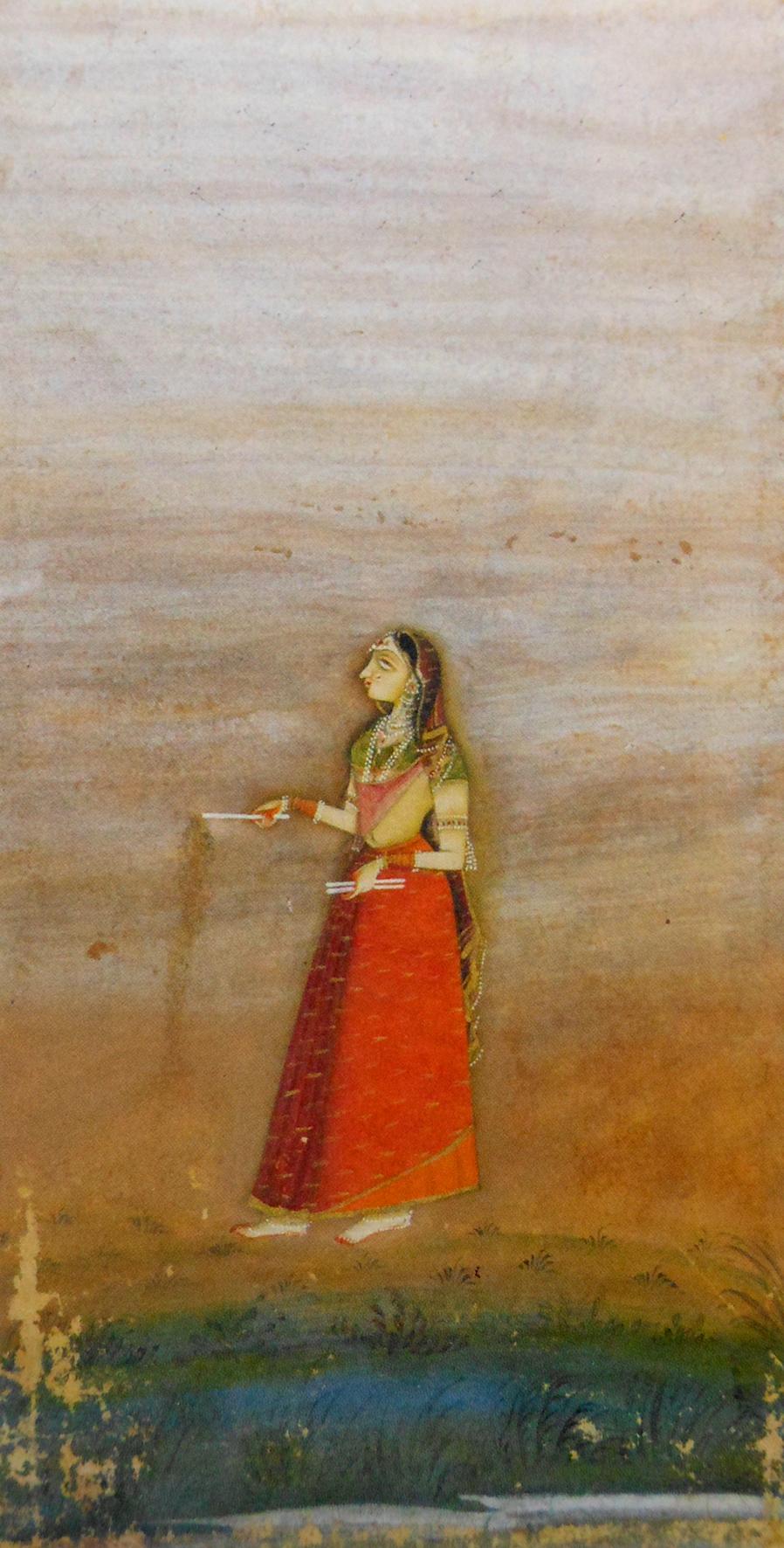 『花火をする盲目の女』(ビカネール派 1720年頃)
